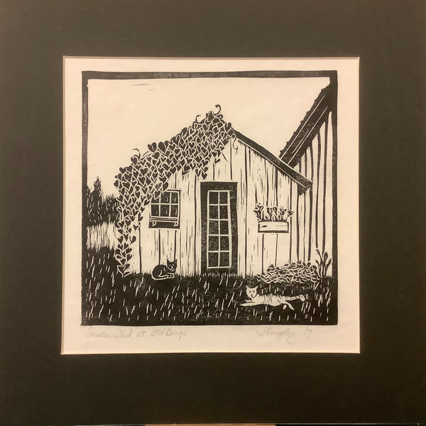 """Garden Shed"" Rubber Block Print with Black Mat, Johanna Kingsley, DeKalb Junction, NY"