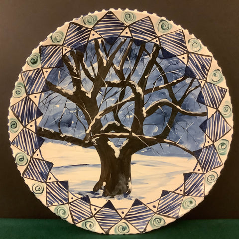 Large Round Platter with Winter Tree