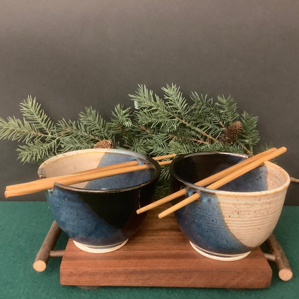 Set of Two Rice Bowls in Black, Blue and Sand with Chopsticks, Petroccione, DeKalb Junction,  NY