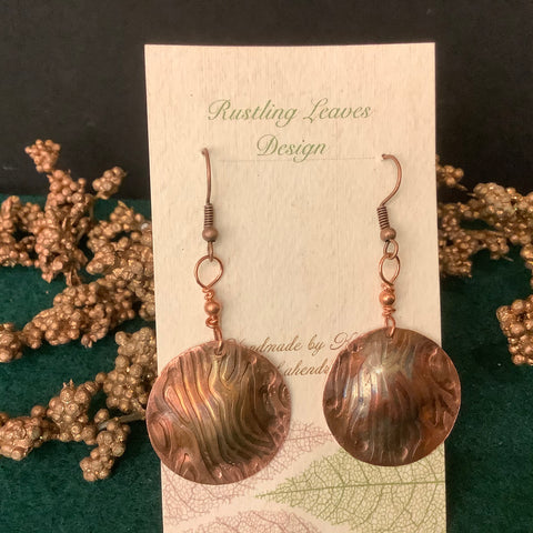 Copper Disc Earrings with Flame Painted Design , Kathy Lahendro, Potsdam, NY