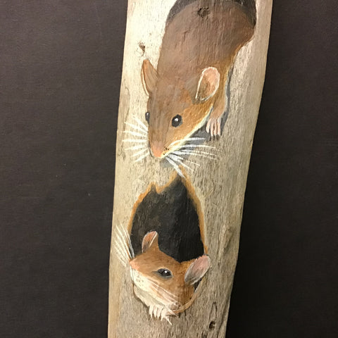 Driftwood Painting Curious Mice
