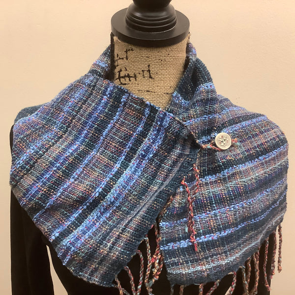 "Handwoven Silk, Cotton,Linen ""Dorothy"" Button Scarf  in Blues, Kim Richey, Chateaugay, NY"