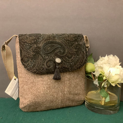 Large Crossbody Bag, Brown Heather Wool with Velveteen Flap, Tina Charbonneau, Lake Placid, NY