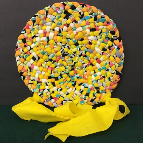 Braided Chair Pad in Bright Yellow and Orange,  Debbie Orland, Colton, NY