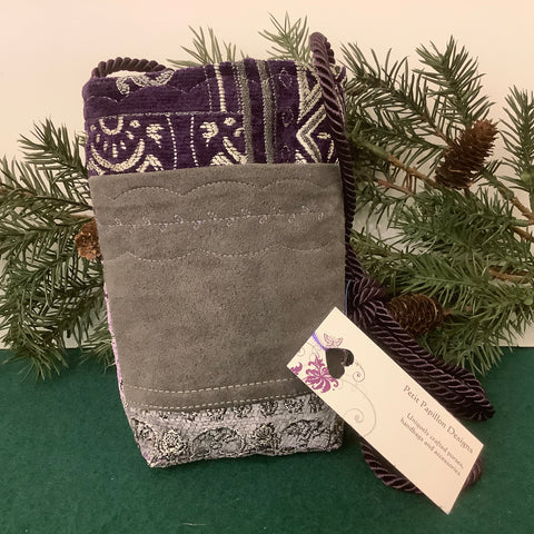 Mini Crossbody Bag, Gray with Purple Tapestry Fabric