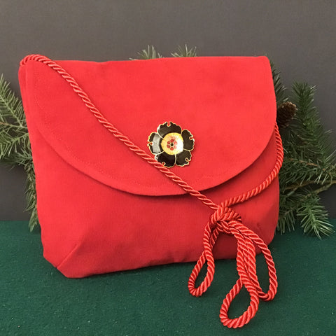 "Dressy Small Bag, Red ""Suede"""