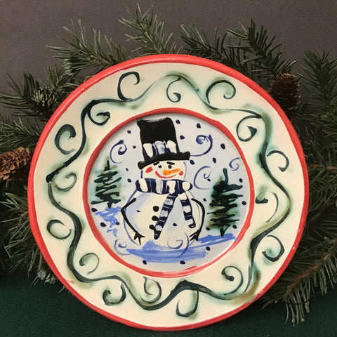 Mini White Plate Snowman with Trees and Red Trim