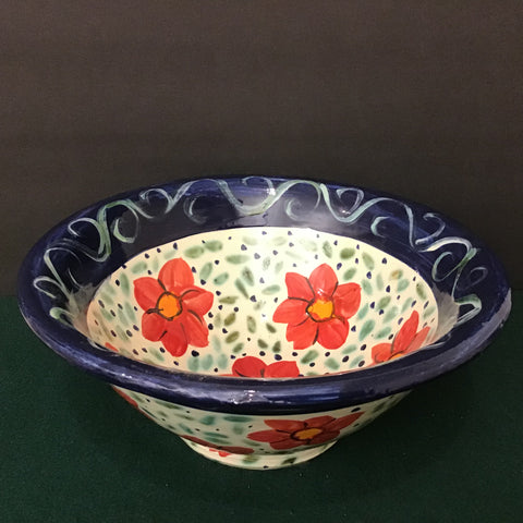 Large White Bowl with Red Flowers and Dark Blue Rim
