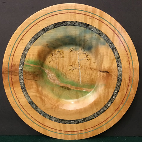 Plate with Birch Tree Landscape and Embedded Calcite Crystals on Rim, David Buchholz, Augur Lake, Keeseville, NY