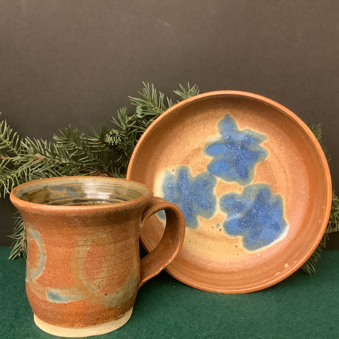 Assorted Rust Brown Pottery with Blue Details, Nan Lazovik, DeKalb, NY
