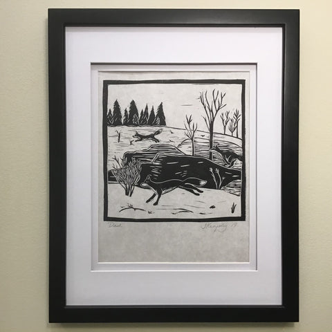 """Dash"" Rubber Block Print  Framed and Matted, Johanna Kingsley, DeKalb Junction, NY"