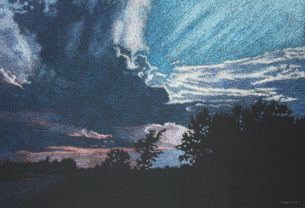 """Big Sky"" Original Dry Pastel on Black Paper, William Newman, Rensselaer Falls, NY, Folkstore Spotlight Artist"