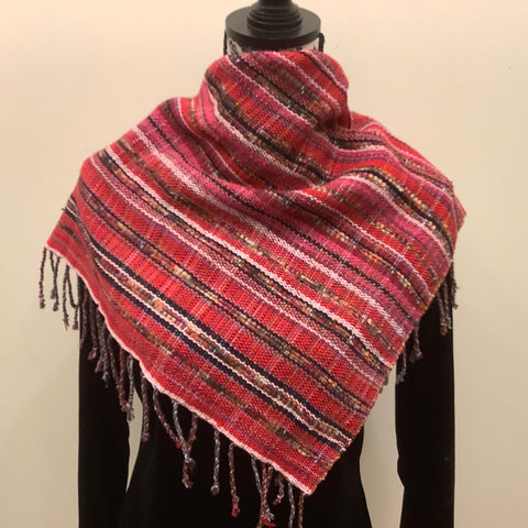 "Handwoven Silk, Cotton, Linen, Reversible ""Jennifer"" Scarf in Reds, Kim Davidson"