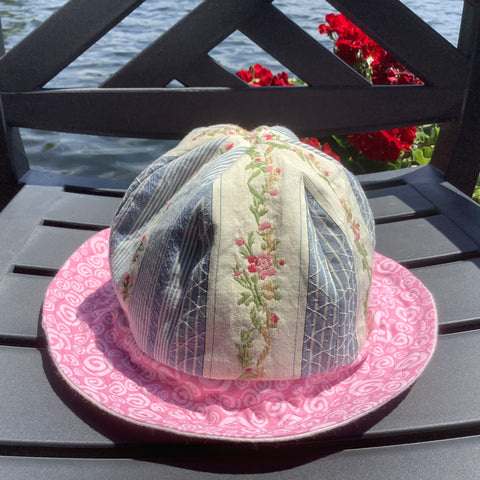 Children's Sun Hat Pink and Blue Laura Ashley Fabric, Tina Charbonneau, Lake Placid, NY