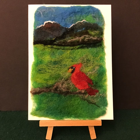 "Hand Felted Card ""Cardinal and Mountains"", Kathy Montan, Canton, NY"