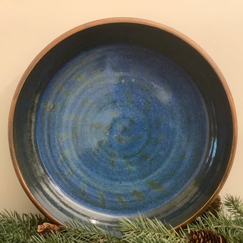 Serving Bowl in Bright Blue with Abstract Pattern