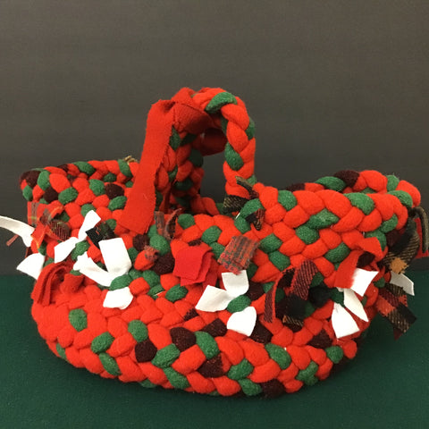 Large Braided Basket Red, Green and Plaids, Debbie Orland, Colton, NY