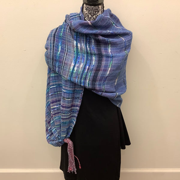"Handwoven Silk, Cotton,Linen ""Abigail"" Shawl in Denim Blues, Kim Richey, Chateaugay, NY"