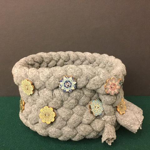 Braided Wool Basket Felted Gray with Buttons, Debbie Orland, Colton, NY