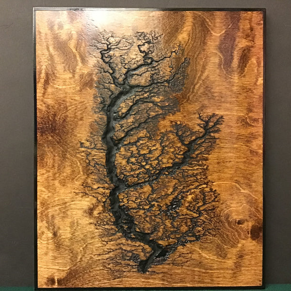 Engraved grain wall plaque birch wood with dark stain, Timothy Dombroski, Brewerton
