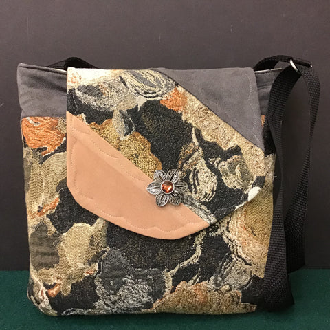 "Large Crossbody Bag, Gray ""Suede""with Floral Tapestry"
