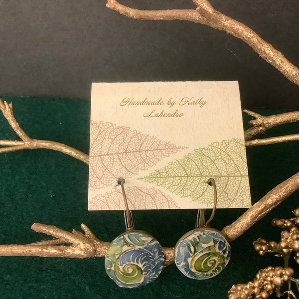 3-D Round Clay Earrings White with Green and Blue Vine Design,  Kathy Lahendro, Potsdam, NY