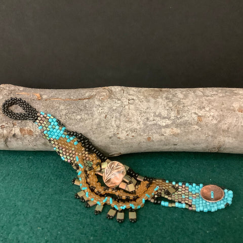 Free Form Peyote Stitch Bracelet with Fringe of Turquoise, Black and Amber Beads, Mary Harding