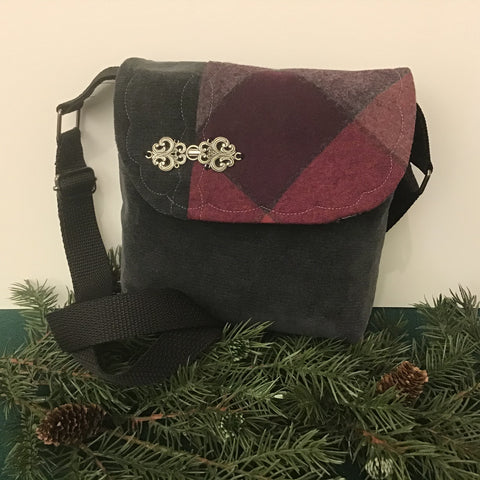 Small Crossbody Bag, Gray with Worsted Wool Plaid