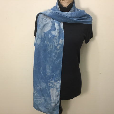 Botanical Print Silk Crepe Scarf in Blue, Cris Winters, Saranac Lake, NY
