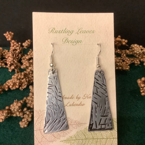 Pewter Triangle Earrings with Cross-hatch Design , Kathy Lahendro, Potsdam, NY