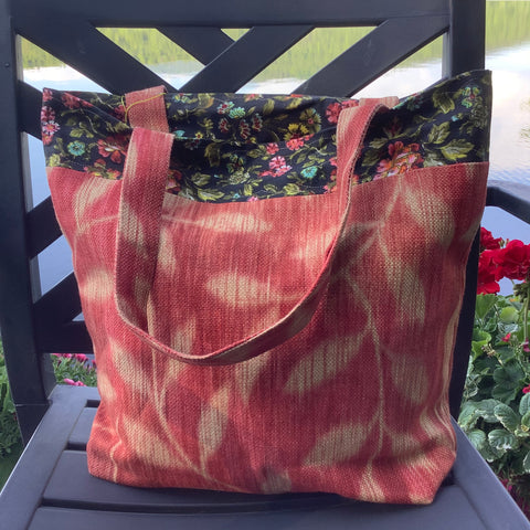 Market Tote Red Fabric with Black Floral Fabric Trim, Tina Charbonneau, Lake Placid, NY
