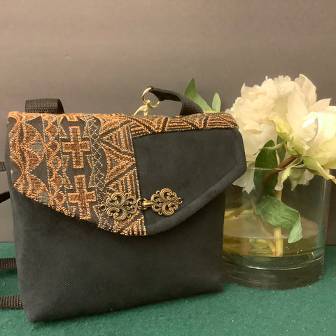 Small Crossbody Bag, Black Suede with Tapestry Flap