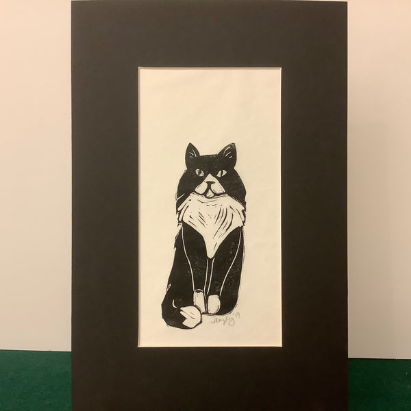 """Dignified Cat"" Rubber Block Print with Black Mat, Johanna Kingsley, DeKalb Junction, NY"