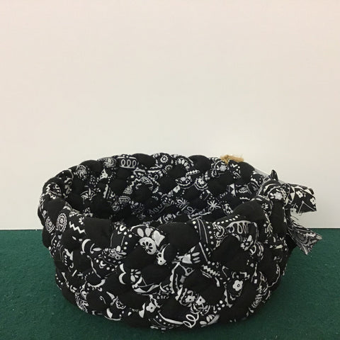 Small Braided Basket in Black and White Flannel Cotton , Debbie Orland, Colton, NY