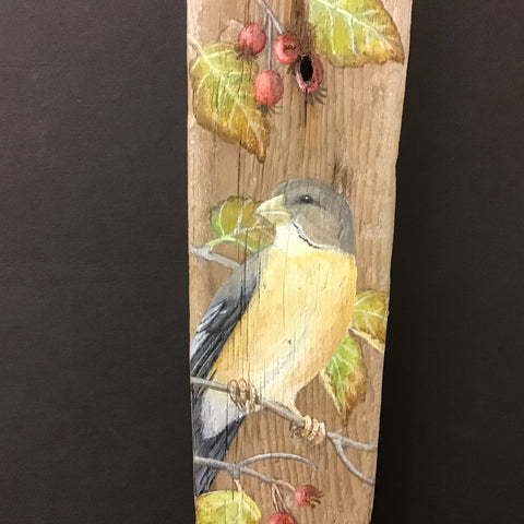 Driftwood Painting Evening Grosbeaks and Hawthorne Berries