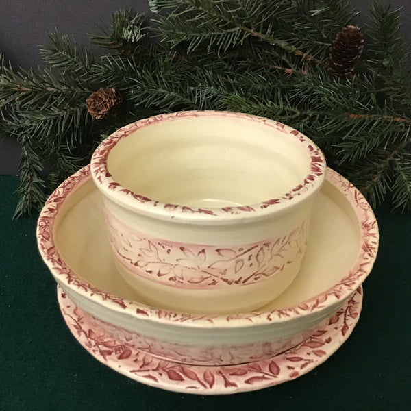 Three Piece Set in Pale Burgundy Embossed Vine Pattern, Jackie Sabourin, Lake Shore Road, Peru, NY