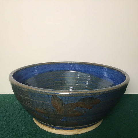 Small Serving Bowl in Blue with Leaf Pattern