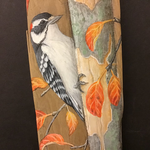 Driftwood Painting Downy Woodpecker and Fall Leaves