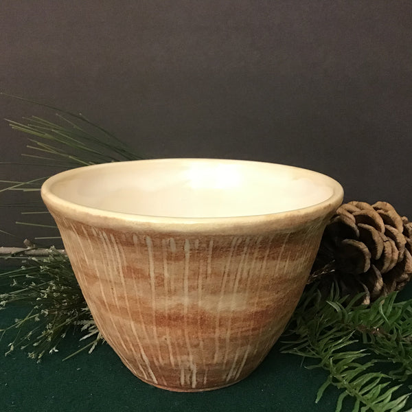 Incised Tapered Bowl In Matte Brown, Joanne Arvisais, Plattsburgh, NY