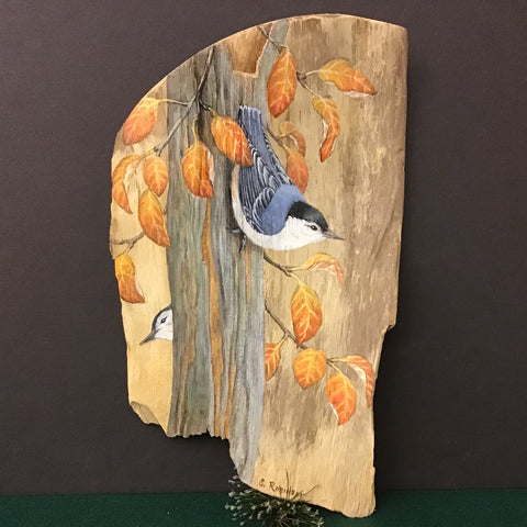Driftwood Painting White-breasted Nuthatches and Fall Leaves
