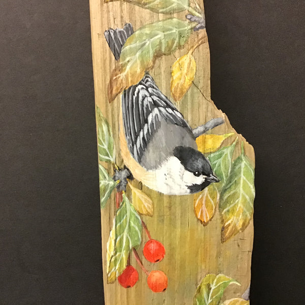 Driftwood Painting Chickadee & Washington Crabapples