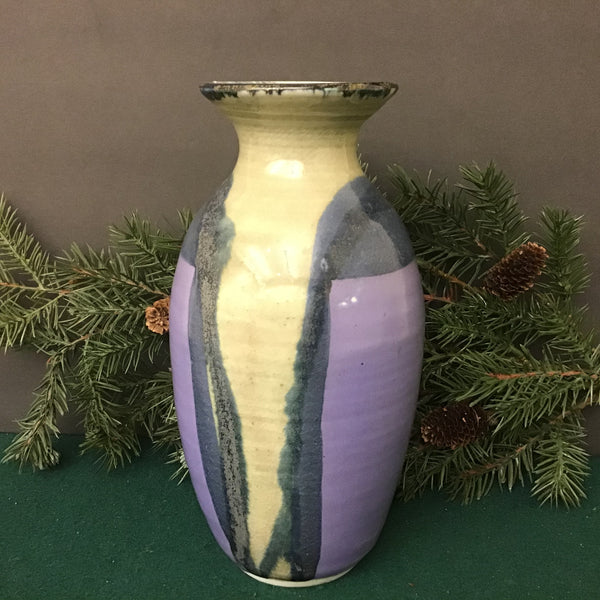 Medium Porcelain Vase, Blues and Purples