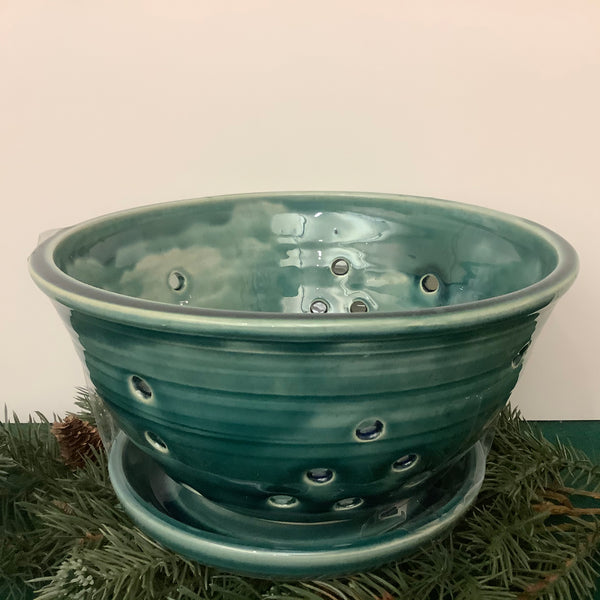 Large Footed Berry Bowl Dark Blue Green, Joanne Arvisais, Plattsburgh, NY
