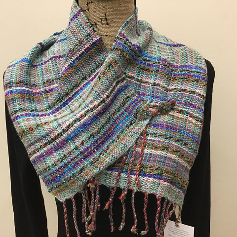 "Handwoven Silk, Cotton,Linen ""Dorothy"" Button Scarf  in Mint, Olive, Blue and Purple, Kim Richey, Chateaugay, NY"
