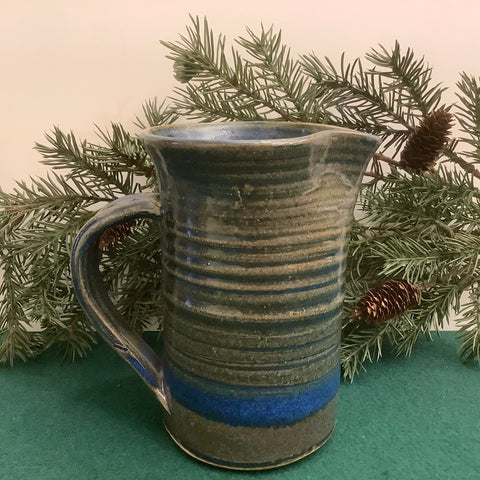 Blue Pitcher with Brown/Green Overglaze