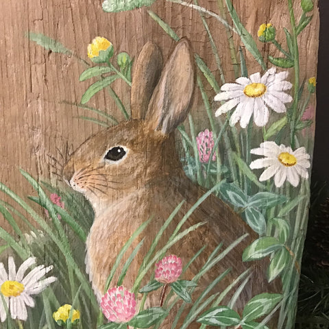 Driftwood Painting Rabbit and Wildflowers