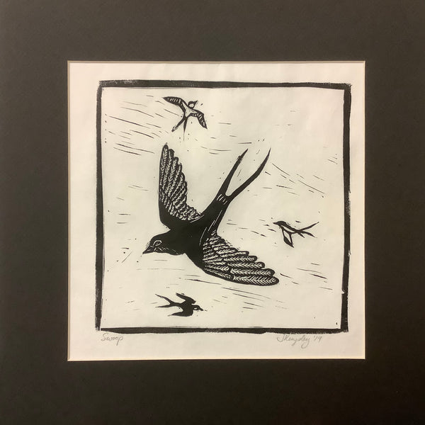 """Swoop"" Rubber Block Print Matted, Johanna Kingsley, DeKalb Junction, NY"