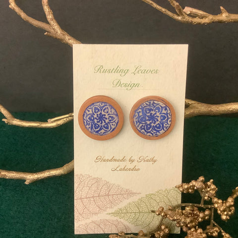 Bluish Purple on White Clay Post Earrings on Wood, Kathy Lahendro, Potsdam, NY