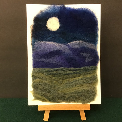 "Hand Felted Card ""Moon Over Blue Mountains"", Kathy Montan, Canton, NY"