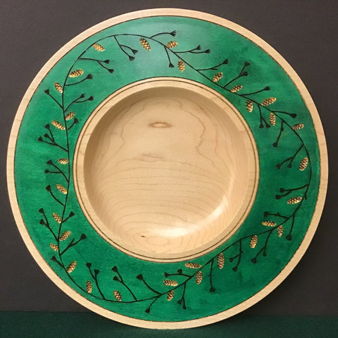 Plate Green Dye and Carves Pinecones, David Buchholz, Augur Lake, Keeseville, NY